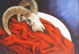 Muflone su panno rosso